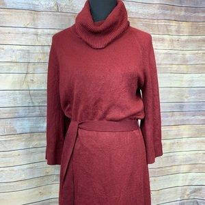 Mossimo Sweater Dress Cowl Neck Belted Burgundy
